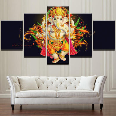 Epic Ganesh on Black 5 Panels Wood N Canvas Wall Art Paintings