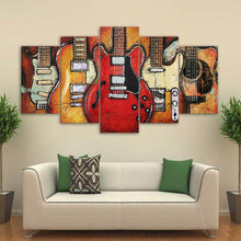 Load image into Gallery viewer, Epic Guitars 5 Panels Wood N Canvas Wall Art Paintings