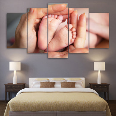 Family Maternal Love 5 Panels Wood N Canvas Wall Art Paintings
