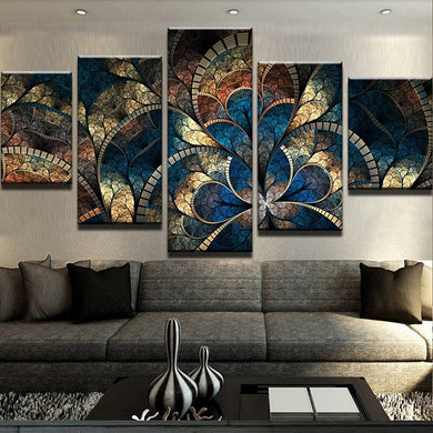 Fantasy Flowers 5 Panels Wood N Canvas Wall Art Paintings