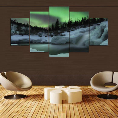 Fantasy Space Aurora 5 Panels Wood N Canvas Wall Art Paintings