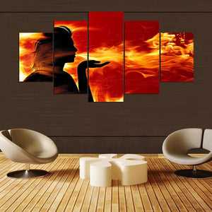 Fire 5 Panels Wood N Canvas Wall Art Paintings