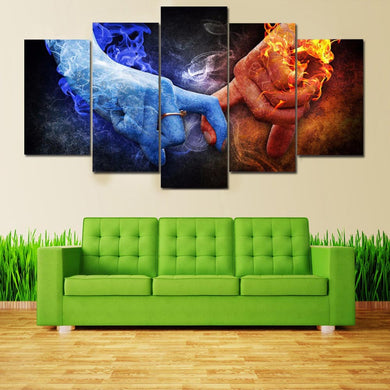 Fire And Ice Love 5 Panels Wood N Canvas Wall Art Paintings