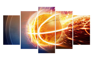 Fire Basketball 5 Panels Wood N Canvas Wall Art Paintings
