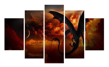 Load image into Gallery viewer, Fire Dragon-1 5 Panels Wood N Canvas Wall Art Paintings