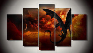 Fire Dragon-1 5 Panels Wood N Canvas Wall Art Paintings