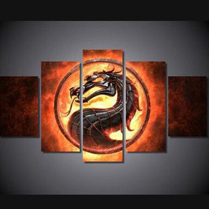 Fire Dragon 5 Panels Wood N Canvas Wall Art Paintings