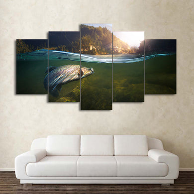 Fish-2 5 Panels Wood N Canvas Wall Art Paintings