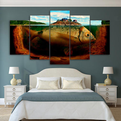 Fish Island 5 Panels Wood N Canvas Wall Art Paintings