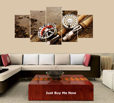 Fishing Rod-2 5 Panels Wood N Canvas Wall Art Paintings