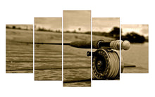 Load image into Gallery viewer, Fishing Rod-4 5 Panels Wood N Canvas Wall Art Paintings