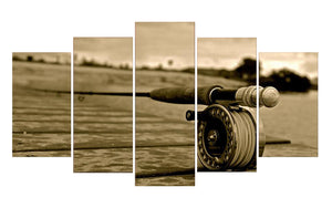 Fishing Rod-4 5 Panels Wood N Canvas Wall Art Paintings