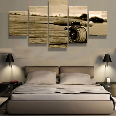 Fishing Rod 5 Panels Wood N Canvas Wall Art Paintings