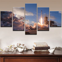 Load image into Gallery viewer, Flame Emission 5 Panels Wood N Canvas Wall Art Paintings