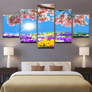 Floral Spring 5 Panels Wood N Canvas Wall Art Paintings