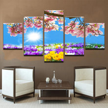 Load image into Gallery viewer, Floral Spring 5 Panels Wood N Canvas Wall Art Paintings