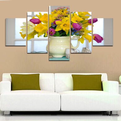 Flower 5 Panels Wood N Canvas Wall Art Paintings
