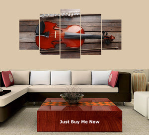 Flute with Violin on Table 5 Panels Wood N Canvas Wall Art Paintings