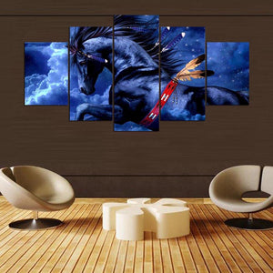 Flying Horse 5 Panels Wood N Canvas Wall Art Paintings