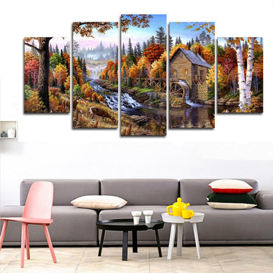 Forest Animal Deer 5 Panels Wood N Canvas Wall Art Paintings