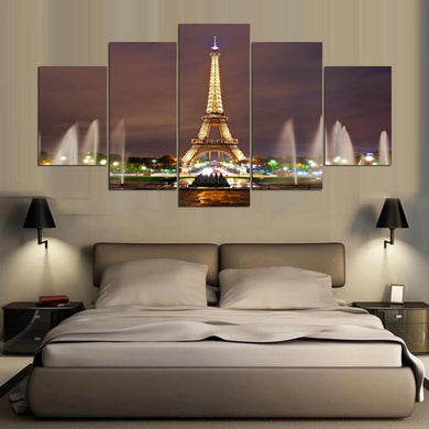 Fountain Eiffel Tower 5 Panels Wood N Canvas Wall Art Paintings