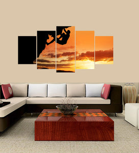 Free Solo Climbing 5 Panels Wood N Canvas Wall Art Paintings