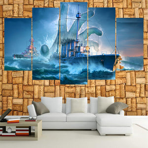 French Navy World Of Warships 5 Panels Wood N Canvas Wall Art Paintings