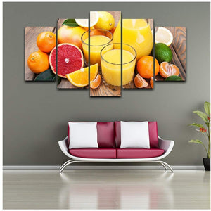 Fruit 5 Panels Wood N Canvas Wall Art Paintings
