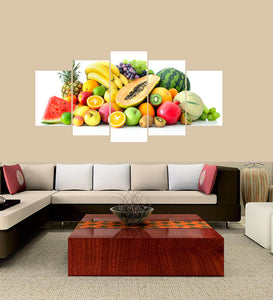 Fruits 5 Panels Wood N Canvas Wall Art Paintings