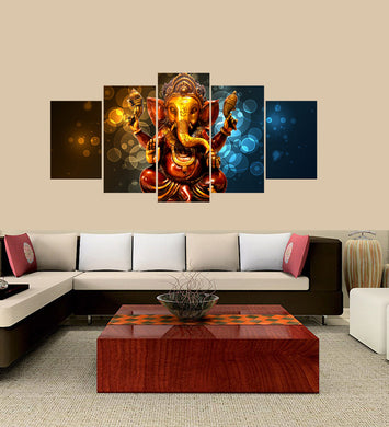 Ganesh Statue 5 Panels Wood N Canvas Wall Art Paintings