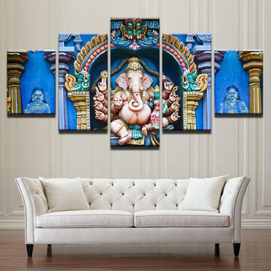 Ganesh Temple 5 Panels Wood N Canvas Wall Art Paintings