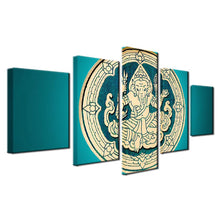 Load image into Gallery viewer, Ganesh Wood Carving 5 Panels Wood N Canvas Wall Art Paintings