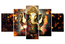 Load image into Gallery viewer, Ganesha 5 Panels Wood N Canvas Wall Art Paintings