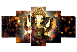 Ganesha 5 Panels Wood N Canvas Wall Art Paintings