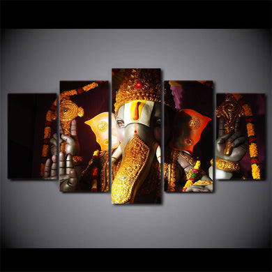 Ganesha Gold 5 Panels Wood N Canvas Wall Art Paintings