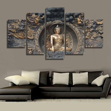 Gautama Buddha main 5 Panels Wood N Canvas Wall Art Paintings