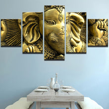 Load image into Gallery viewer, God Ganesha -2 5 Panels Wood N Canvas Wall Art Paintings