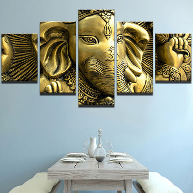 God Ganesha -2 5 Panels Wood N Canvas Wall Art Paintings
