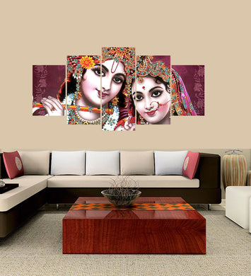 Goddess Krishna and Radharani 5 Panels Wood N Canvas Wall Art Paintings