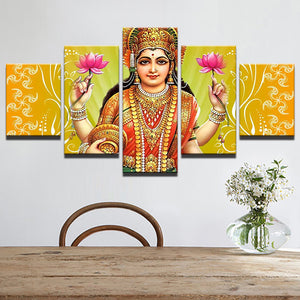 God laxmiji 5 Panels Wood N Canvas Wall Art Paintings