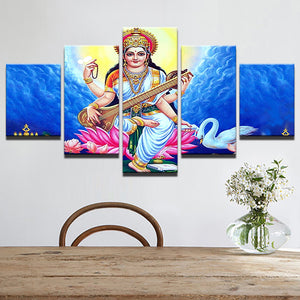 God sarsvatidevi 5 Panels Wood N Canvas Wall Art Paintings