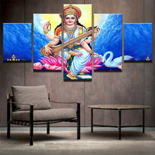 Load image into Gallery viewer, God sarsvatidevi 5 Panels Wood N Canvas Wall Art Paintings