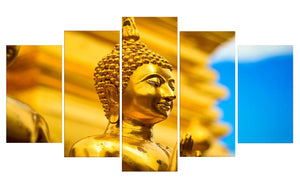 Gold Buddha 5 Panels Wood N Canvas Wall Art Paintings