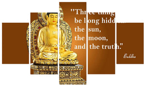 Golden Buddha Abstract 5 Panels Wood N Canvas Wall Art Paintings