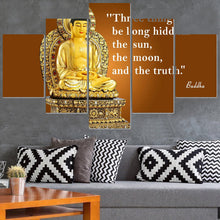 Load image into Gallery viewer, Golden Buddha Abstract 5 Panels Wood N Canvas Wall Art Paintings