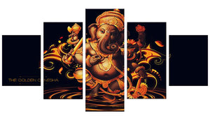 Golden Ganesh on Black 5 Panels Wood N Canvas Wall Art Paintings