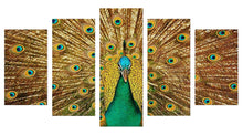 Load image into Gallery viewer, Golden Peacock 5 Panels Wood N Canvas Wall Art Paintings
