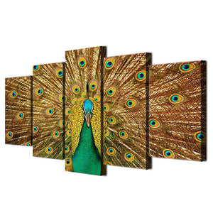 Golden Peacock 5 Panels Wood N Canvas Wall Art Paintings