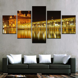 Golden Temple At Midnight 5 Panels Wood N Canvas Wall Art Paintings