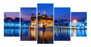 Golden Temple Drawing 5 Panels Wood N Canvas Wall Art Paintings
